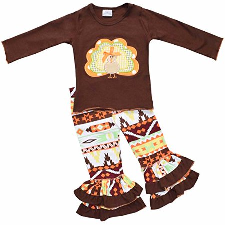 Girls 2 Piece Turkey Fall Colors Thanksgiving Legging Set - Turkey Trot Outfits