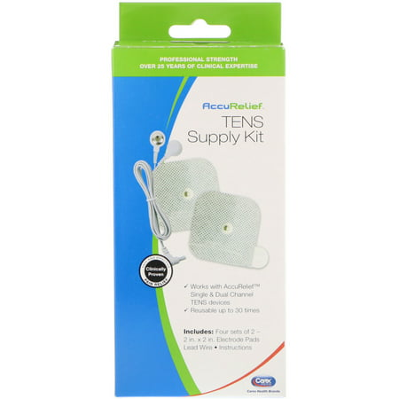 AccuRelief  TENS Supply Kit  4 Sets of 2 Electrode Pads   1 Lead Wire
