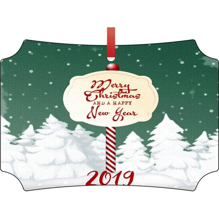 Merry Christmas and a Happy New Year 2019 Double Sided Elegant Aluminum Glossy Christmas Ornament Tree Decoration - Unique Modern Novelty Tree Décor Favors - Asu Decorations