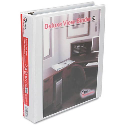 "Office Impressions Round Ring Economy Vinyl View Binder, 1-1/2"" Capacity, White, 3 Pack"