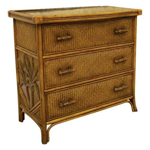 Cancun Palm 3 Drawer Chest w Glass