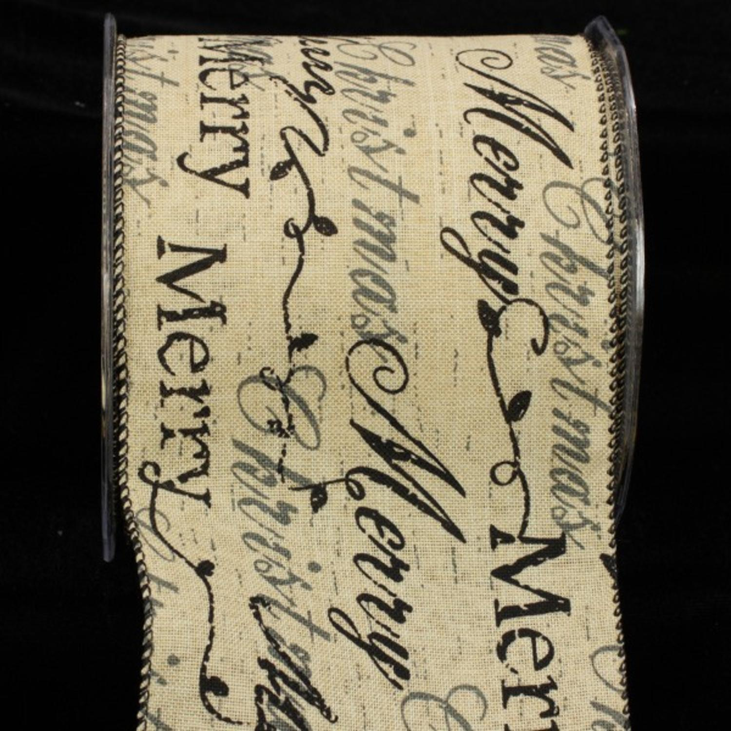 "Classic Cream Holiday Black and Gray Script Wired Ribbon 4"" x 20 yards"