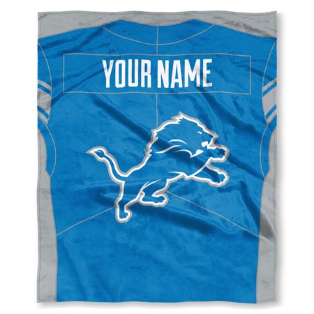 "NFL Detroit Lions ""Jersey"" Personalized Silk Touch Throw Blanket"