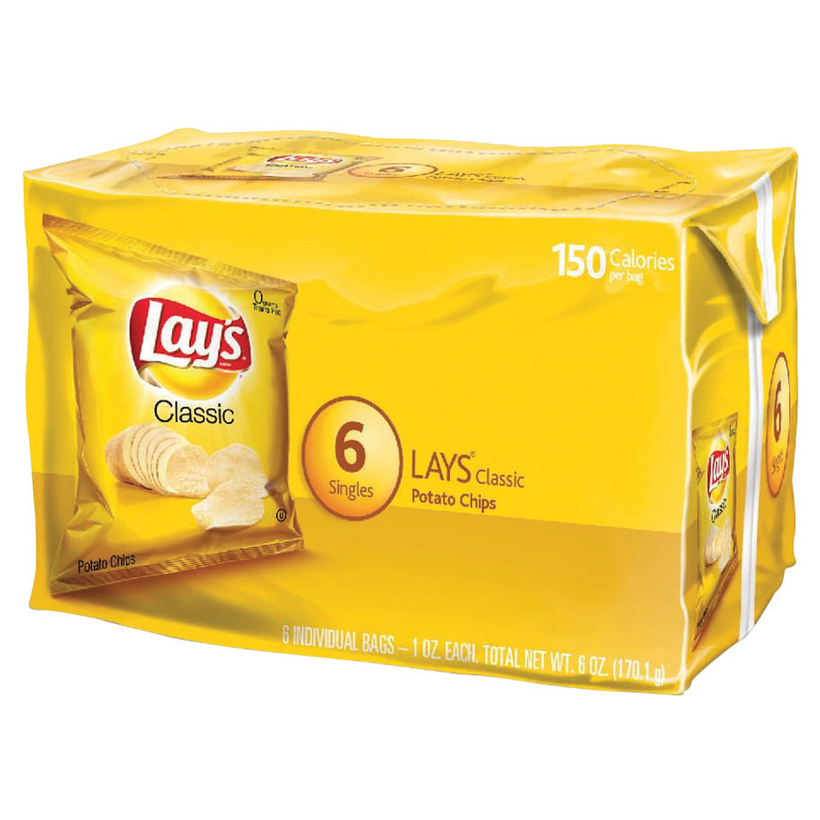 Lay's Potato Chips, Classic, 1 Oz, 6 Ct