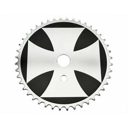 Sprocket Iron Cross 44t 1/2 X 1/8 Black/Chrome. for bicycles, bikes, for lowriders, beach cruiser, strech bikes,