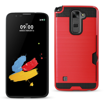 Lg Stylus 2/Lg Ls775 Slim Armor Hybrid Case-Red With Card Holder Slot (Silicone+Protector Cover)