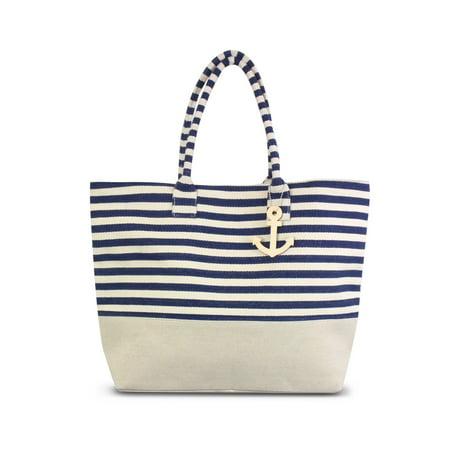 Zodaca Stripes Design Women Handbag Ladies Large Shoulder Tote Purse Messenger Bag (Size: 22