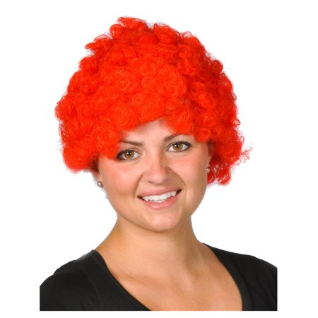 Mens Womens Child Costume Accessory Dress Up Red Afro Team Spirit Clown Wig