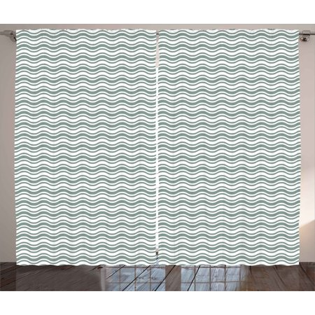 Floral Curtains 2 Panels Set, Artistic Scroll Flowers Vertical Bands Nature Growth Inspired Unique Graphic, Window Drapes for Living Room Bedroom, 108W X 90L Inches, Jade Green White, by