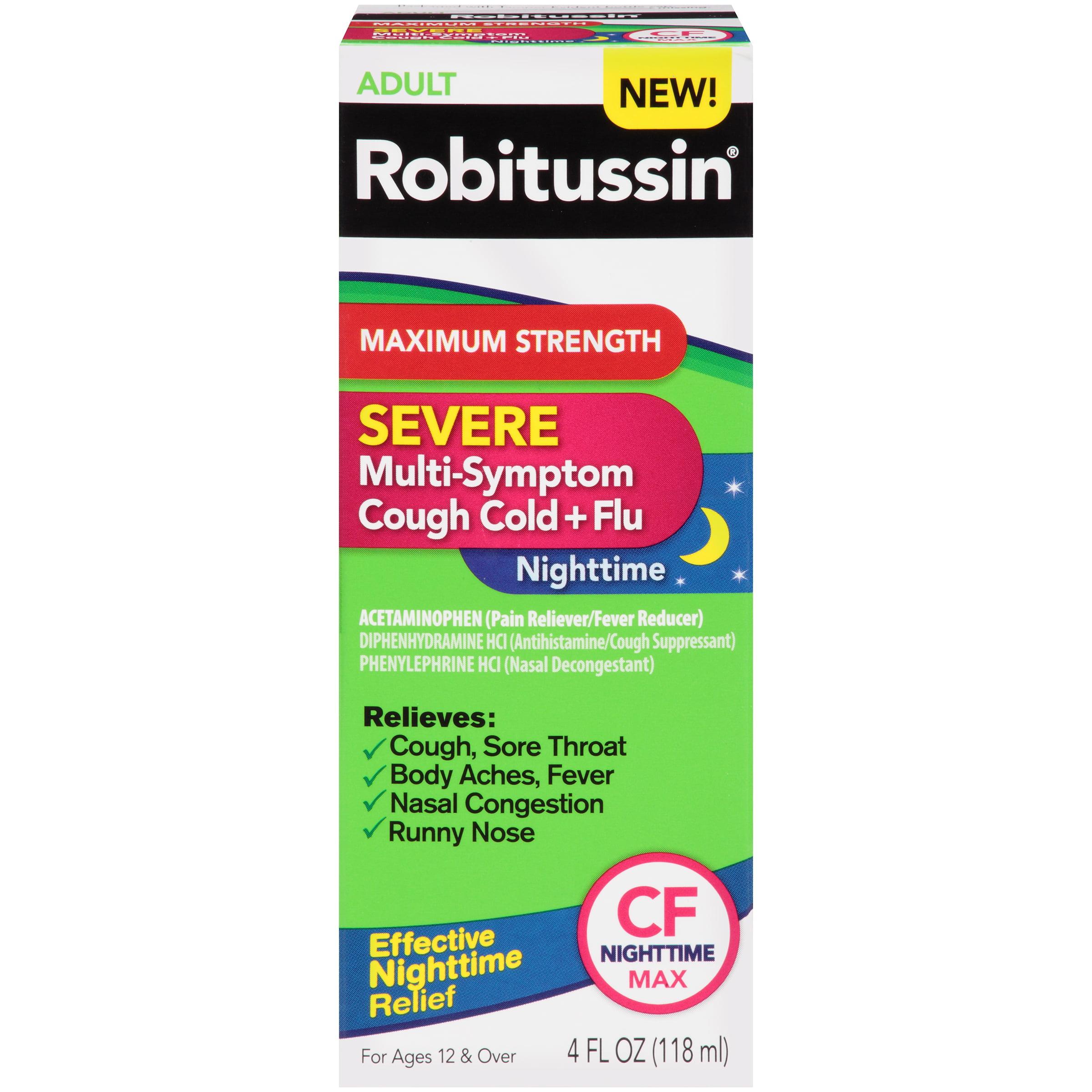Robitussin Adult Severe Multi-Symptom Cough Cold + Flu CF Nighttime Max, 4.0...