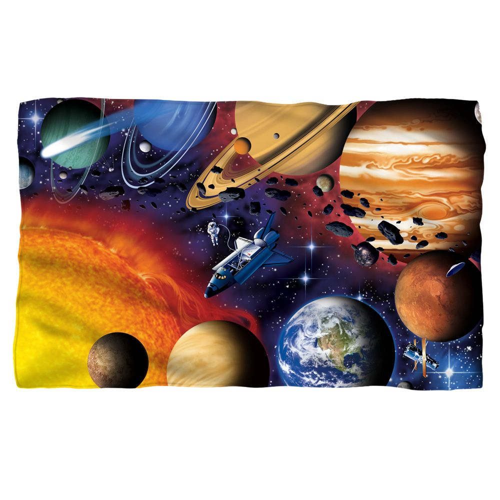Solar System Fleece Blanket White 48X80