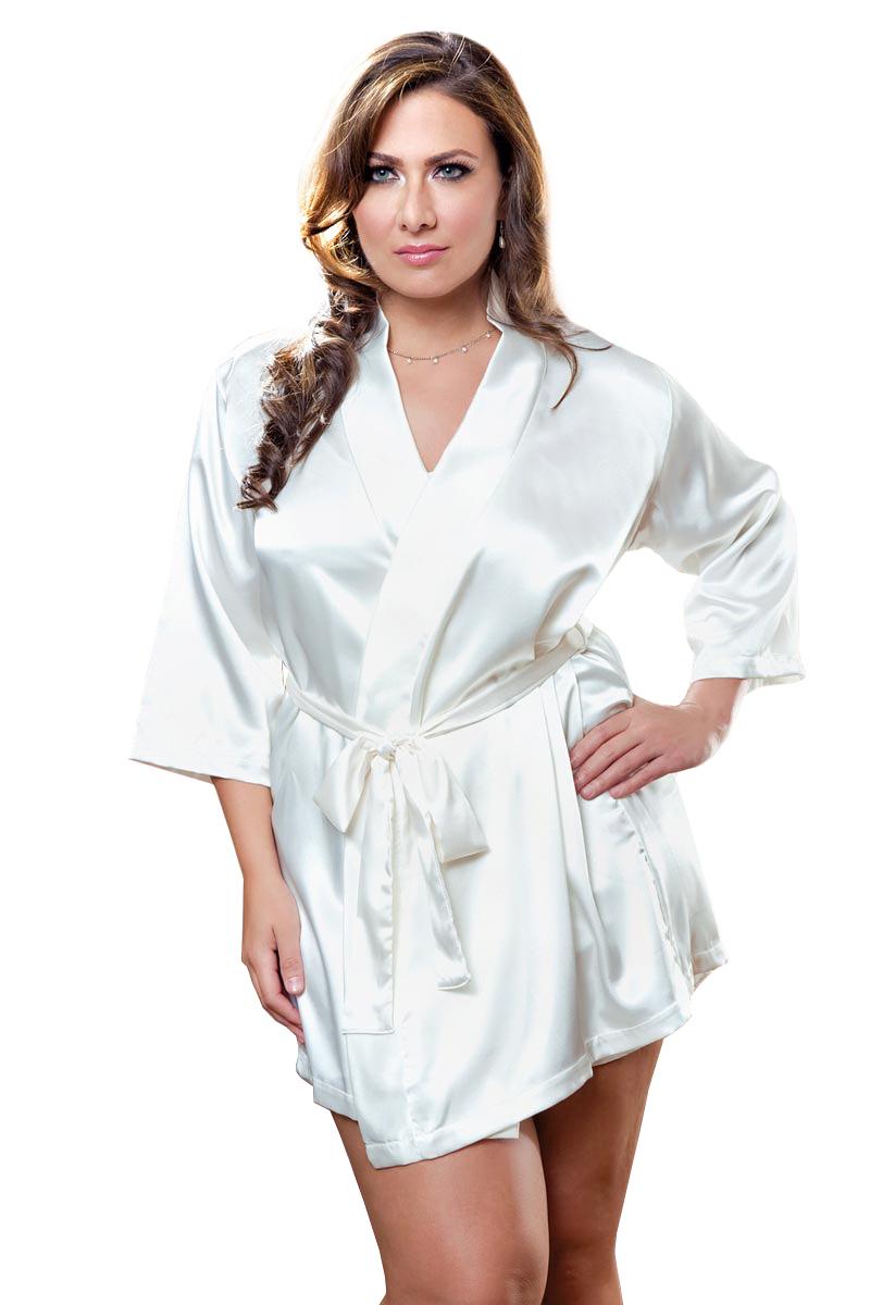 Plus Size Full Figure Classic Satin Robe