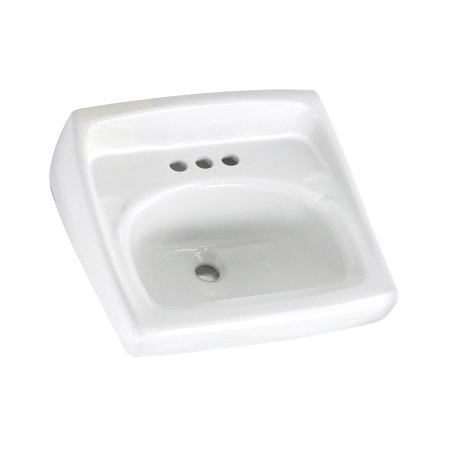 (American Standard 0355.027.020 Lucerne Wall Mounted Lavatory Sink for Exposed Bracket Support (not included) with Three Faucet Holes (4 Centers), White)