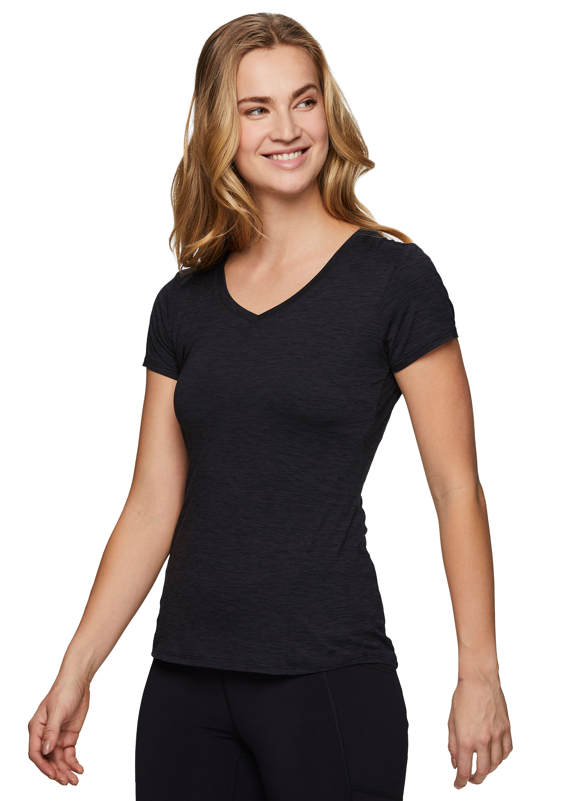 RBX Active Womens Athletic Quick Dry Space Dye Short Sleeve Yoga T-Shirt