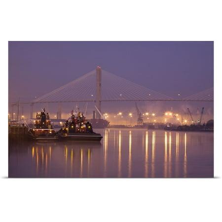 Great Big Canvas Joanne Wells Poster Print Entitled Georgia  Savannah  Tugboats And Bridge At Dawn Along The Savannah River
