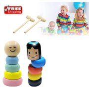 Funny Wooden Magic Toy Unbreakable Smile Face Man Puppet New Interactive toys Magic Toy Gift for Boys Baby Kids Unbreakable Wooden Man Magic Toy Tik Tok