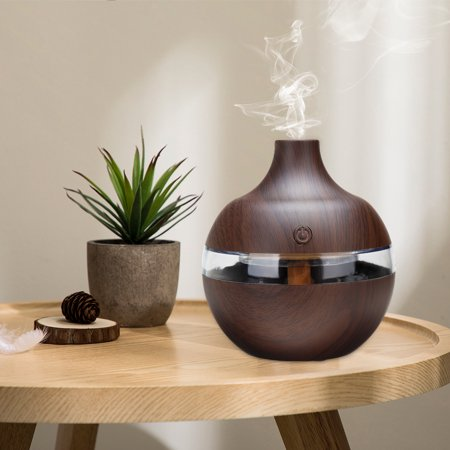 300ML 7 LED Color Wood Grain Aromatherapy Essential Oil Humidifier Mist Diffuser Air Purifier Pro