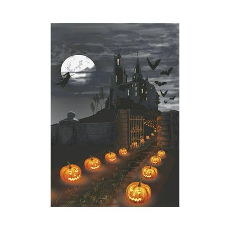 MYPOP Creative Halloween Castle with Pumpkins Garden Flag Outdoor Banner 28 x 40 - Halloween Banner Pumpkin