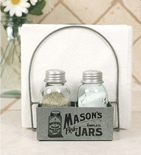 Mason's Jars Box Salt Pepper and Napkin Caddy by Colonial Tin Works