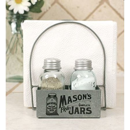 Mason's Jars Box Salt Pepper and Napkin Caddy ()