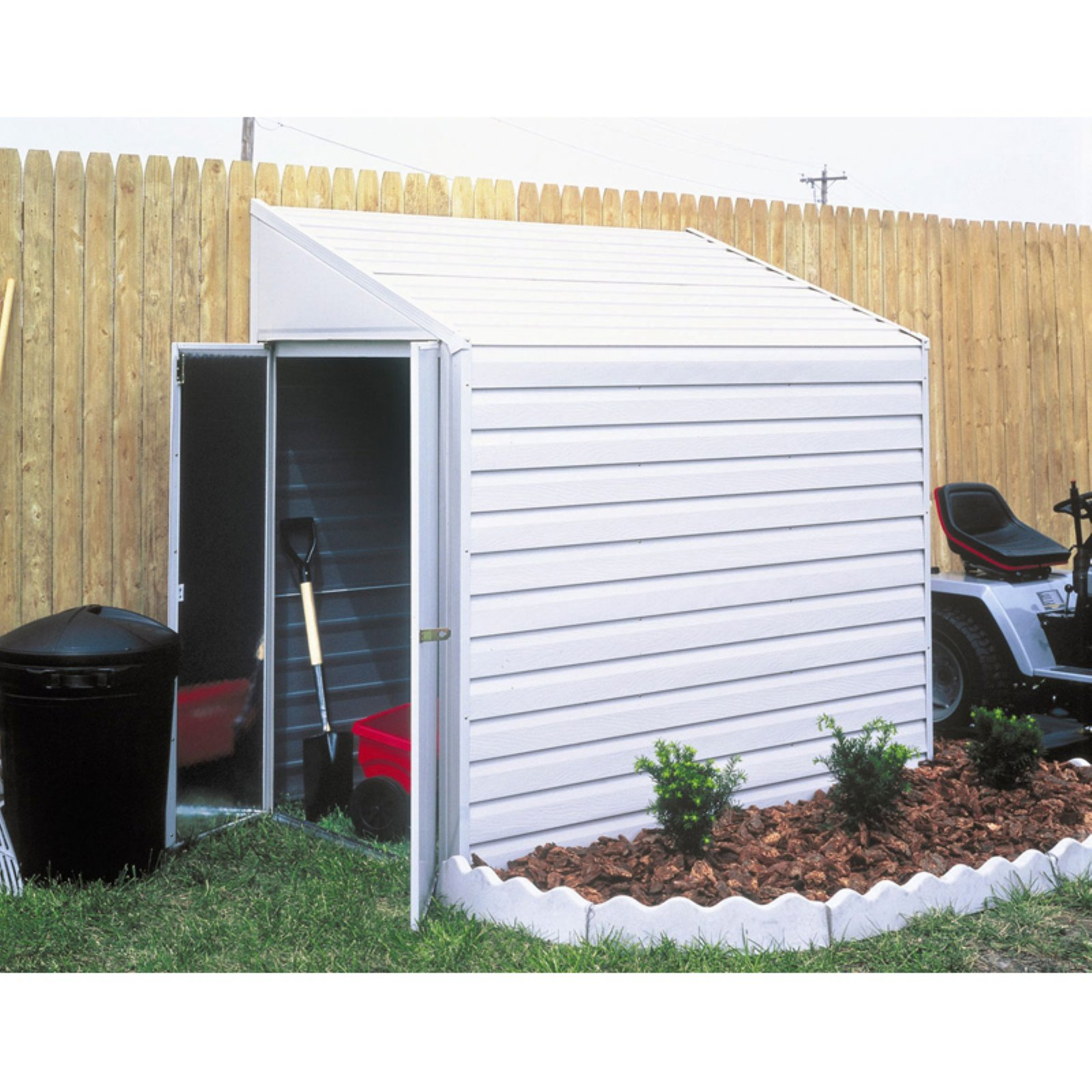 Yardsaver 4 x 10 ft. Steel Storage Shed Pent Roof Eggshell