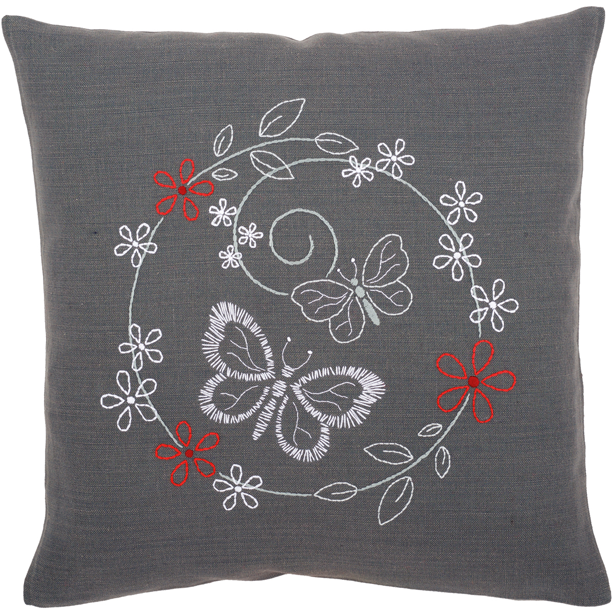 """Butterflies Cushion Stamped Embroidery Kit, 16"""" x 16"""""""