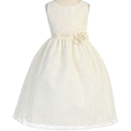 4a119a0bc Lovely Floral Lace Satin Sash Little Girl Party Flower Girl Dresses Ivory 2  - Walmart.com