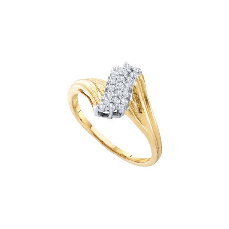 Ladies Round Prong Set (10kt Yellow Gold Womens Round Prong-set Diamond Contoured Cluster Ring 1/6 Cttw)