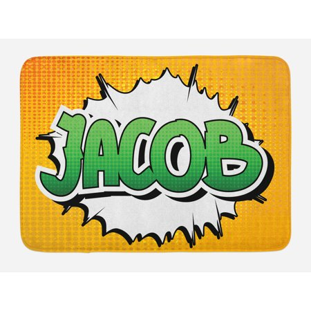 Jacob Bath Mat, Personal Male Name in Green Shades on Comic Burst Effect Illustration, Non-Slip Plush Mat Bathroom Kitchen Laundry Room Decor, 29.5 X 17.5 Inches, Marigold Green and White, - Shade Bath Light