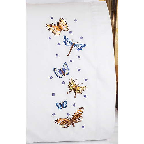 "Butterflies Pillowcase Pair Stamped Embroidery, 20"" x 30"""
