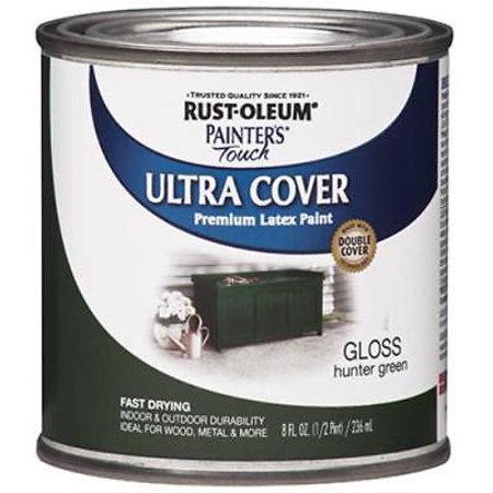 - Painter's Touch Ultra Cover 1/2 PT Hunter Green Latex Paint Fast Dry E 2PK