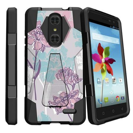 ZTE Grand X4 Z956 Shock Fusion Heavy Duty Dual Layer Kickstand Case -  Serene Pastel Flower