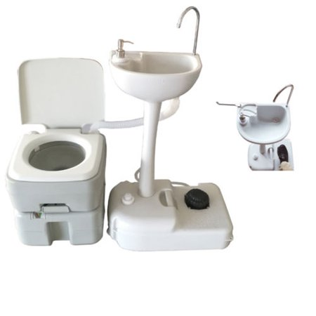 Zimtown Outdoor Camping Hiking 20L Portable Toilet Flush Potty Commode with Wash Basin