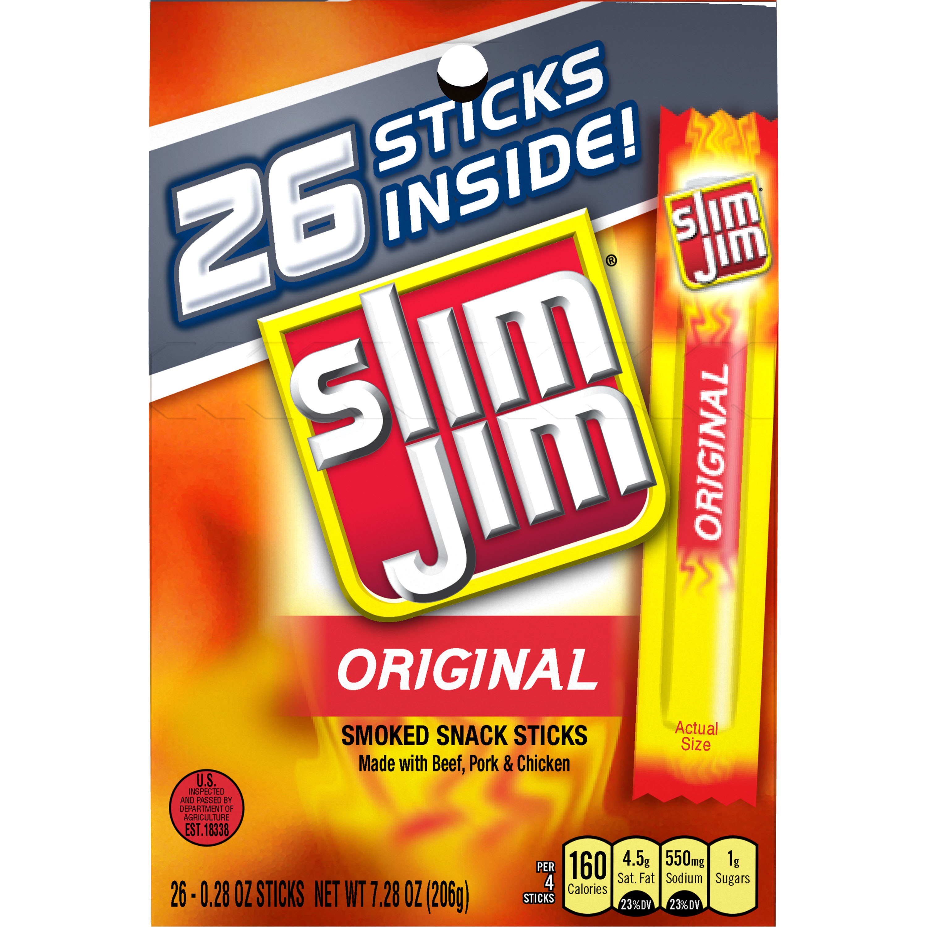 Slim Jim Original Smoked Snack Sticks, 0.28 oz, 26 ct
