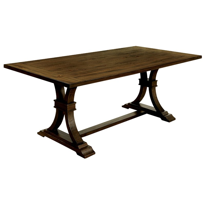 Furniture of America Norbu Extendable Dining Table in Rustic Oak