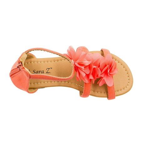 Sara Z Girls Double T Strap Flat Sandal with Back Zip Chiffon Ruffle Top Coral Size 2/3