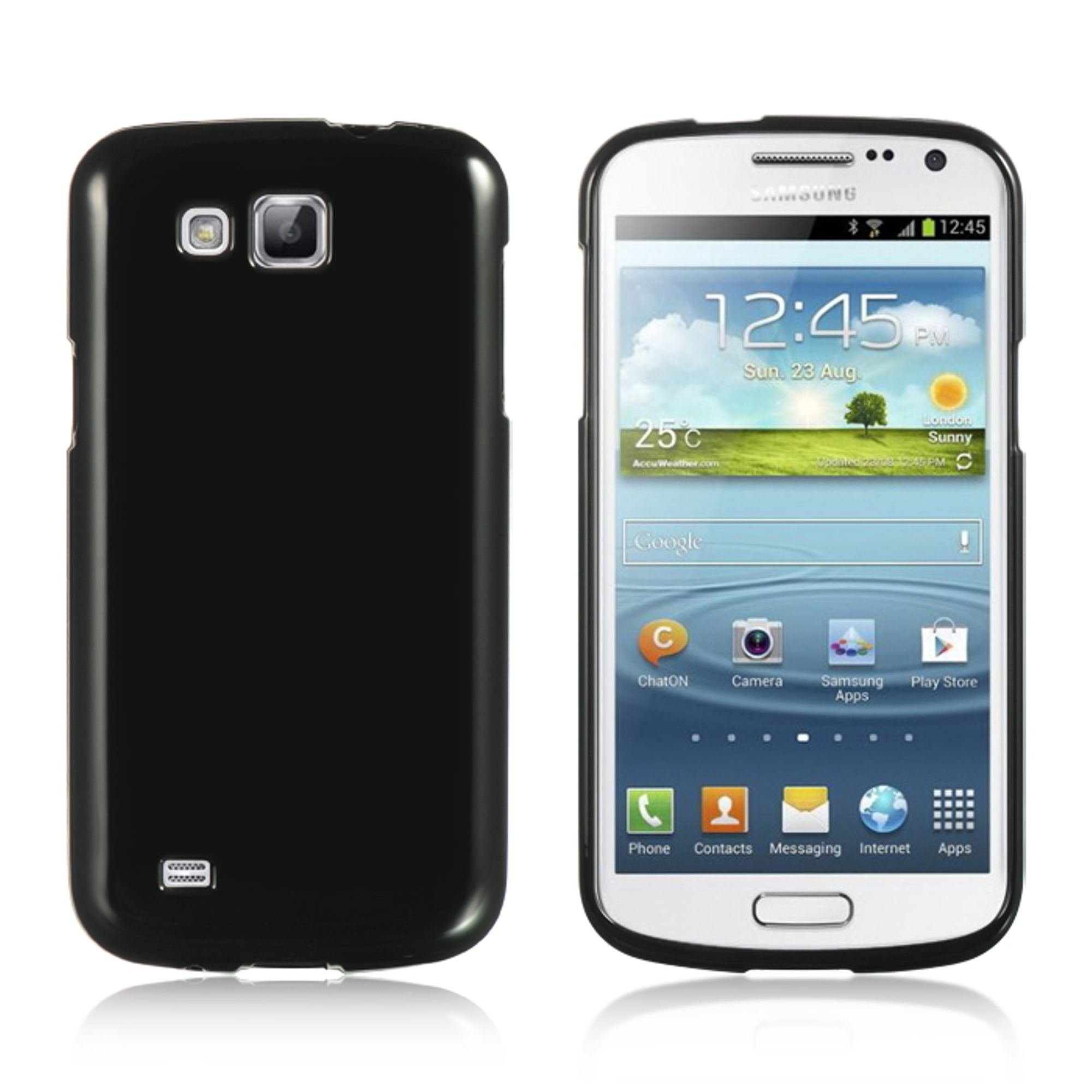 Insten Crystal Skin Silicone Soft Skin Back Gel Case For Samsung Galaxy Premier - Black