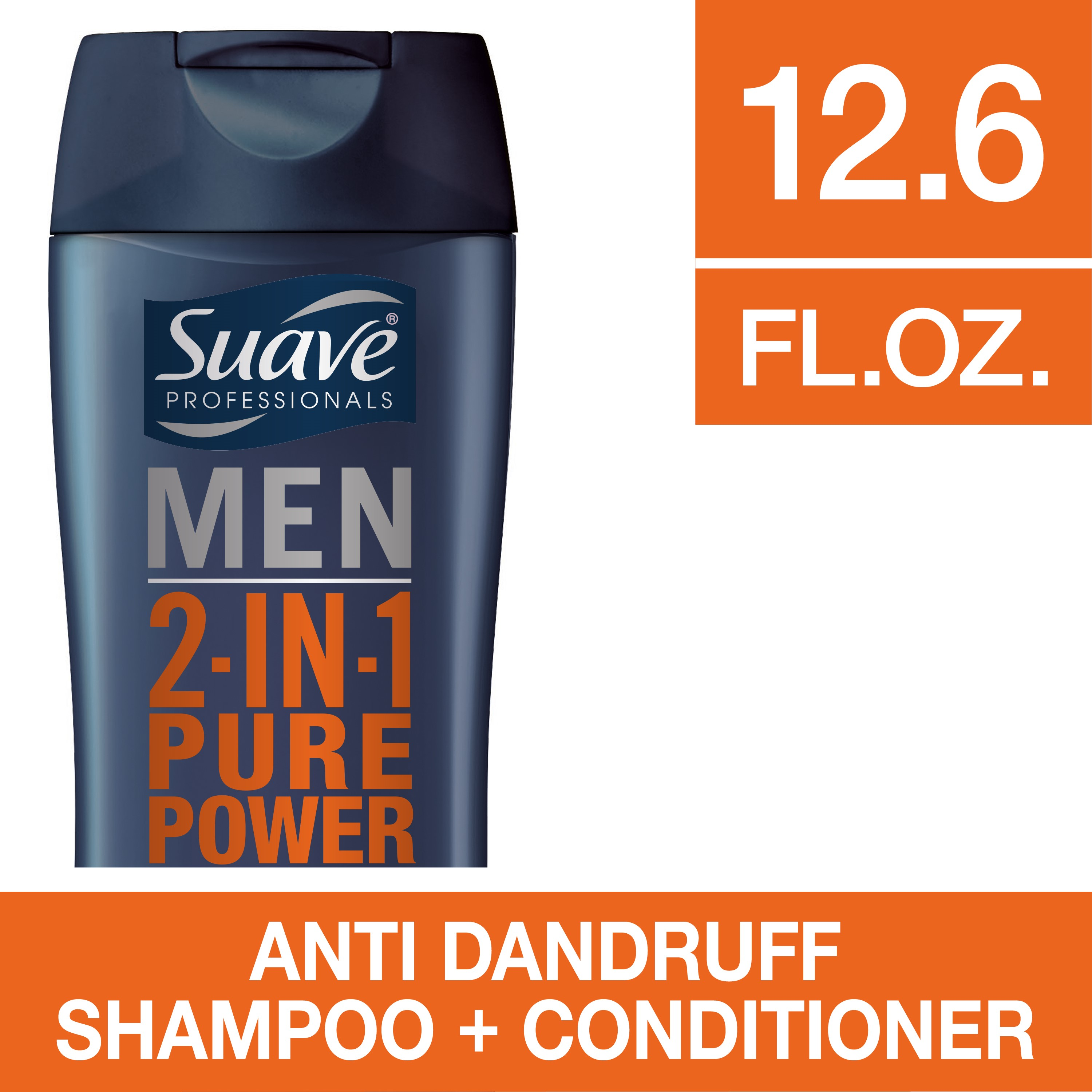(2 Pack) Suave Men Anti-Dandruff Pure Power 2-in-1 Shampoo & Conditioner, 12.6 Fl Oz