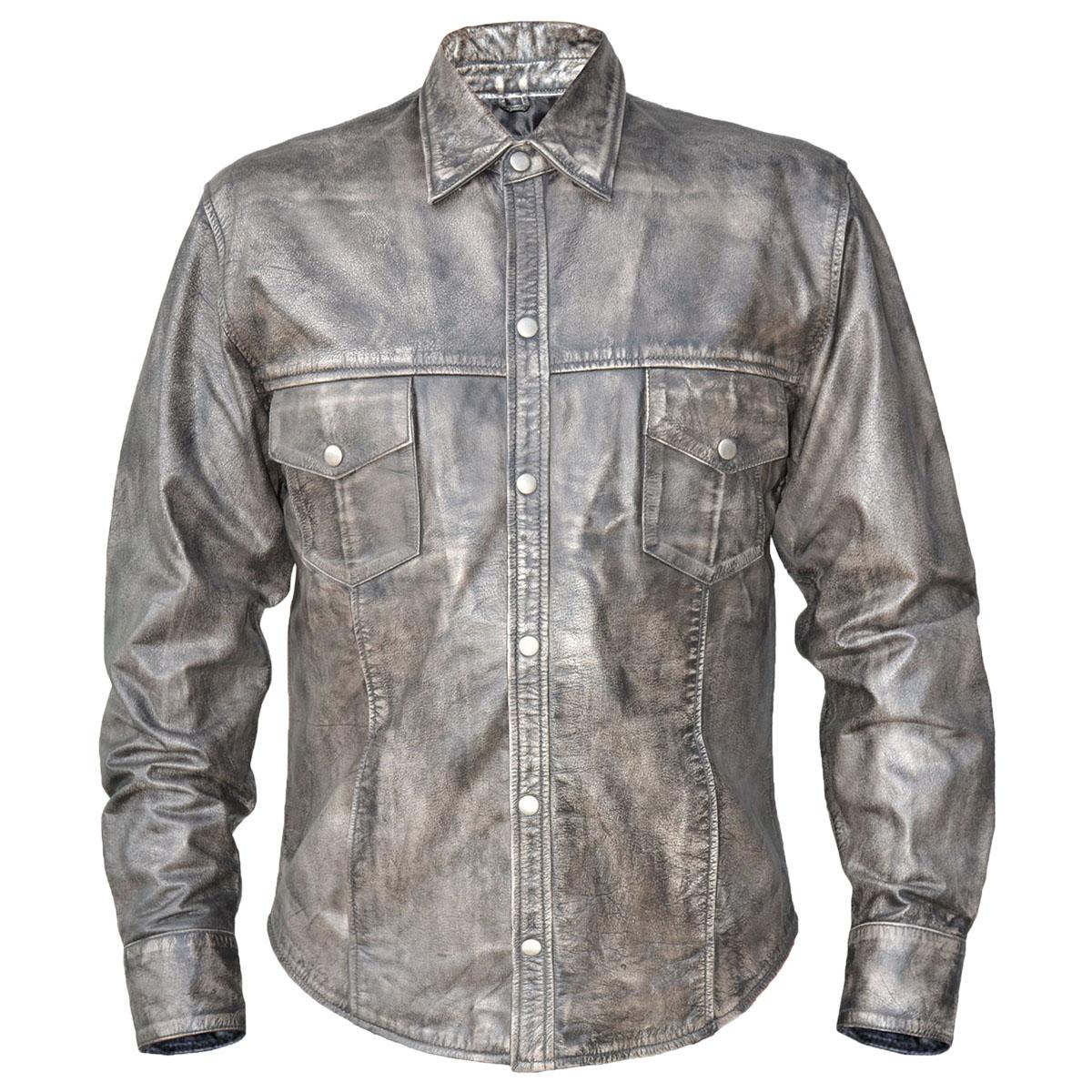 Xelement BXU85200 Urban Armor Comfort Mens Grey Leather Shirt with Gunmetal Sna