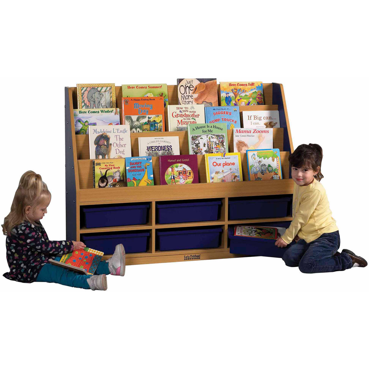 ***FASTTRACK***CE 6 Compartment Book Display w/ Storage - BL