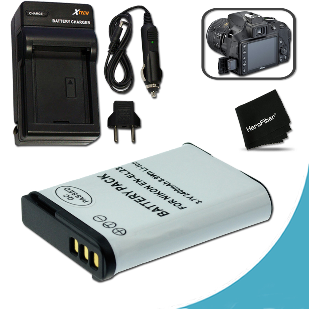High Capacity (Replacement) Nikon EN-EL23 / ENEL23 Battery + Quick Rapid AC/DC Charger Kit for Nikon Coolpix P900 P610 P600 S810c Digital Cameras