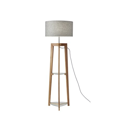 adesso henderson shelf floor lamp. Black Bedroom Furniture Sets. Home Design Ideas
