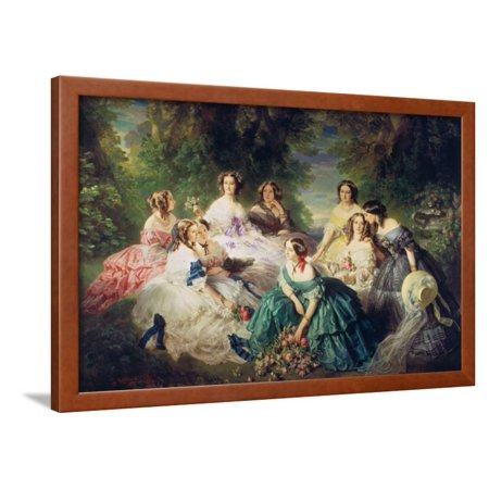 Empress Eugenie (1826-1920) Surrounded by Her Ladies-In-Waiting, 1855 Framed Print Wall Art By Franz Xaver Winterhalter
