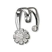 CZ PEN129 C. Z.  Rhodium Flower Cluster For Omega- . 925 - Sterling Silver Necklace