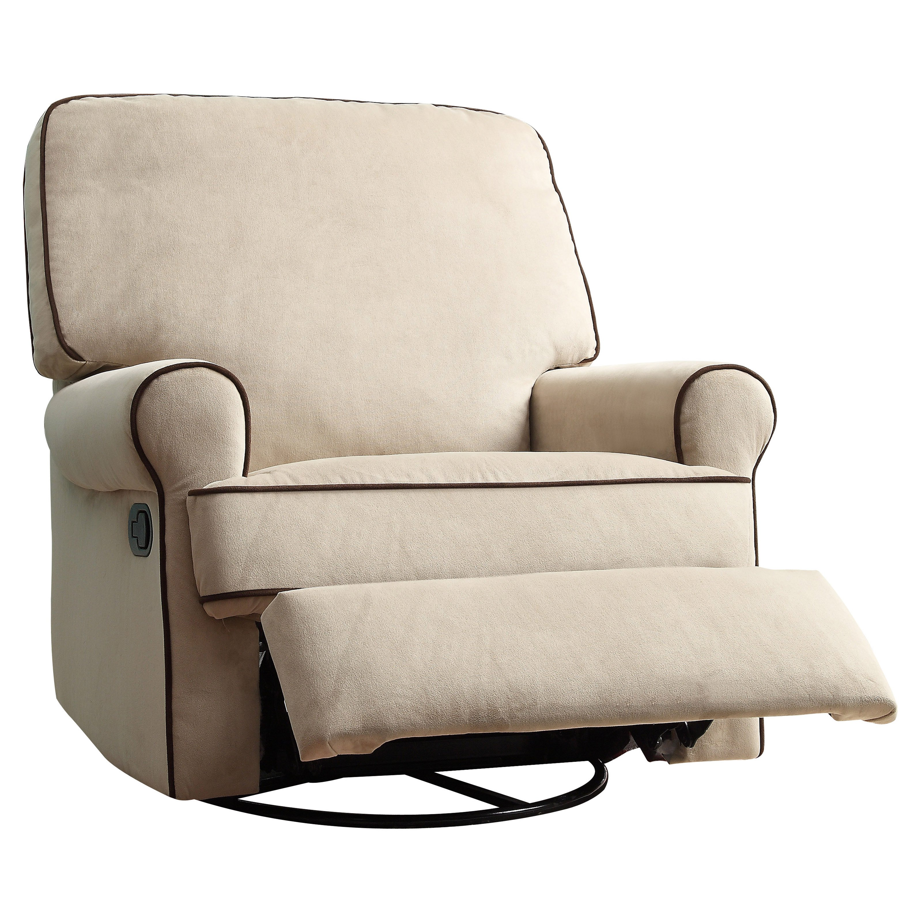 prime resources birch hill swivel glider recliner chair with doe piping brown walmartcom