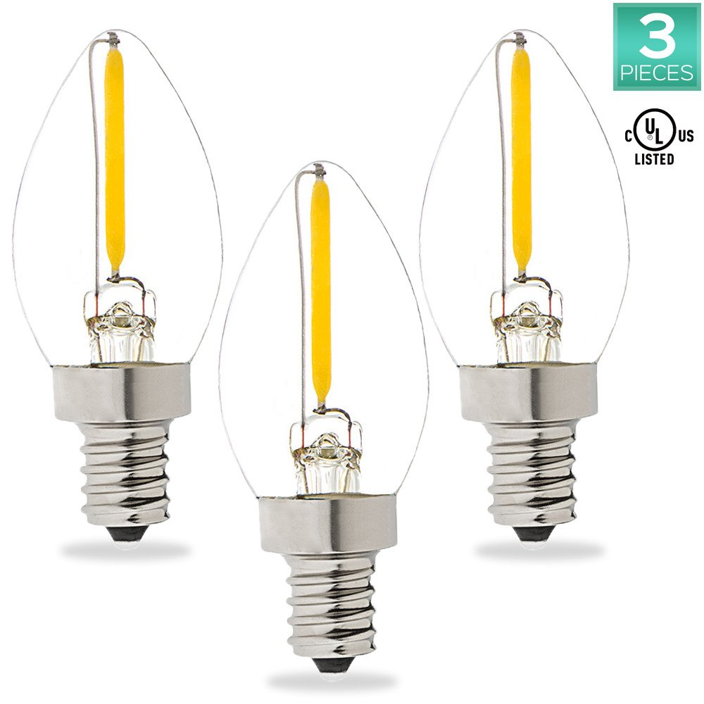Luxrite C7 LED Bulb, 0.7W (10W Equivalent) Warm White 2700K, LED Night light bulb, 50 Lumens, E12 Base, UL Listed, 3 Pack