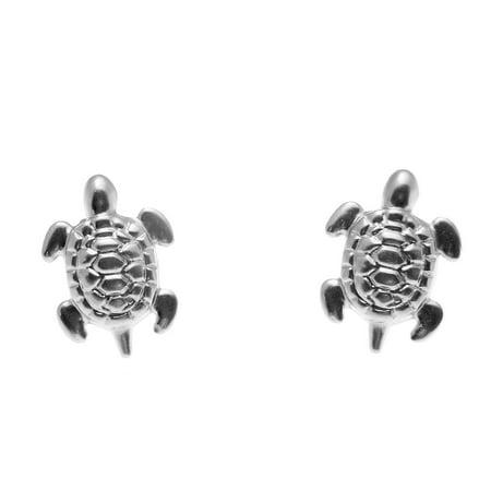 14K solid white gold small 8mm Hawaiian sea turtle honu stud post earrings