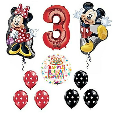 Mickey and Minnie Mouse Full Body 3rd Birthday Supershape Balloon Set (Mini Mouse Birthday)