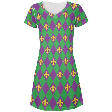 Cheap Mardi Gras Dresses (Mardi Gras Fleur De Lis All Over Juniors V-Neck)