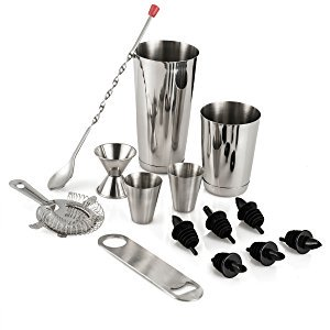 Leoney Cocktail Shaker Bar Set - 14 Piece Stainless Steel Bar Tools Kit with Shaking Tins, Flat Bottle Opener, Double Bar Jigger, Hawthorne Strainer, Shot Glasses, Bar Spoon, and 6 Pour Spouts